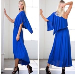 Dresses & Skirts - Beautiful One Shoulder Maxi Dress in Royal Blue